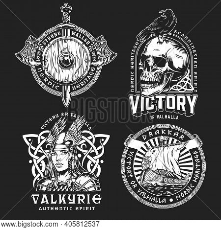 Viking Vintage Monochrome Labels With Axes Sword Shield Drakkar Ship Beautiful Valkyrie Crow Sitting