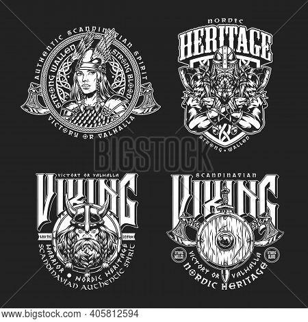 Nordic Viking Vintage Emblems Set With Inscriptions Pretty Valkyrie Scandinavian Warriors Battle Axe