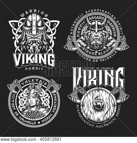 Vintage Viking Monochrome Labels With Battle Axes Shield Pretty Valkyrie Serious Bearded Medieval No