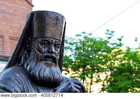 Krasnoyarsk, Russia - May 11, 2020: Monument To Archbishop Luka Of Simferopol And The Crimea. Saint