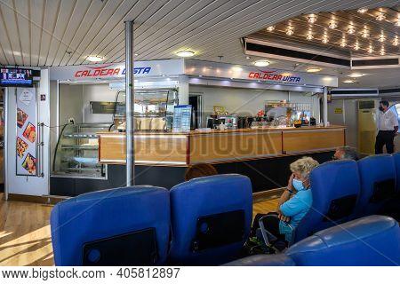 Sikinos, Greece - September 23, 2020: Interior Of Ferry Caldera Vista, High Speed Catamaran Owned By