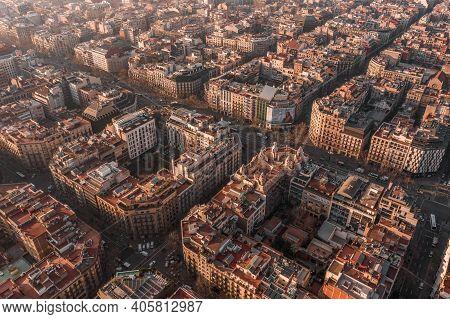 Barcelona, Spain - Feb 25, 2020: Aerial Drone Shot Of Barcelona City Center In Morning