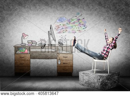 Young Happy Woman Relaxing In Room. Creative Freelance Designer Sitting On Chair And Putting Feets O