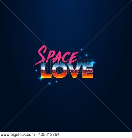 Colorful Simple Vector Illustration In Retro Futurism Style Of 1980s Of Headline Signboard Text Spac