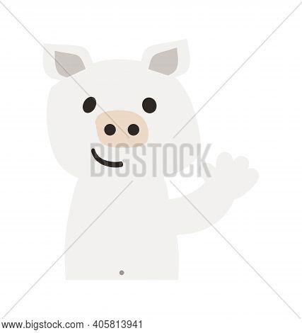 Cute Pig - Waving - Flat Cartoony Vector Isolated