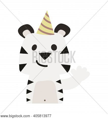 Cute White Tiger With Party Hat - Waving - Flat Cartoony Vector Isolated