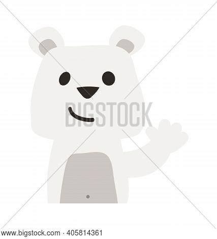 Cute Polar Bear - Waving - Flat Cartoony Vector Isolated