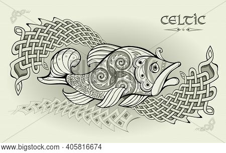 Abstract Background With Ancient Nordic Decoration. Illustration Of Fantastic Fish. Ethnic Ornament
