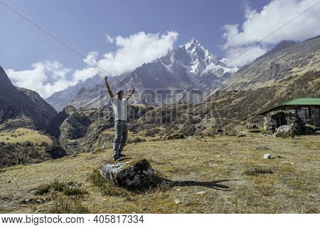 Backpacker Enjoying The View In The Way To Machu Picchu In The Salkantay Trek, Peru