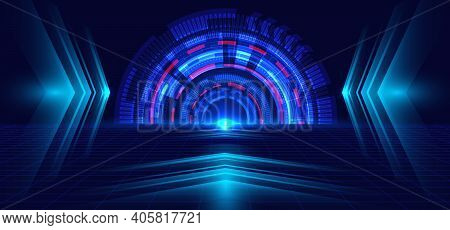 Abstract Technology Blue Circle, Light Beam And Arrow Pattern Perspective On Dark Blue Grid Backgrou