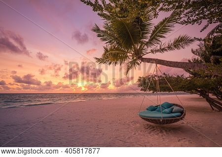Tropical Beach Sunset Landscape With Beach Swing Or Hammock And Sunset Sky White Sand And Calm Sea F
