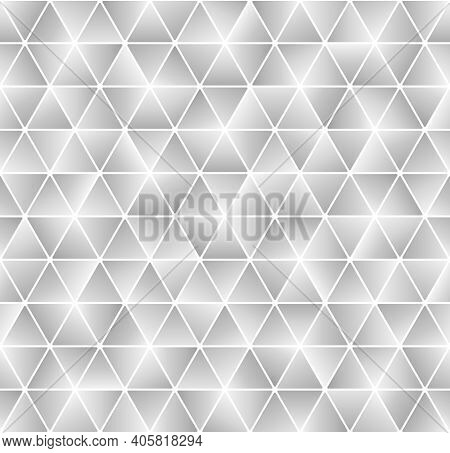 Abstract Background Triangle Shape With Rounded Ends. White Seamless Hexagon Geometric Shape. Shiny