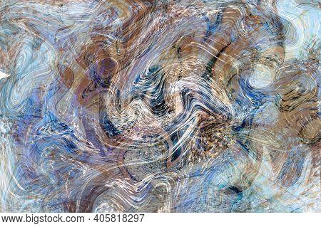Blue Grey Fluid Illustration. Digital Marbling Card. Abstract Pastel Fluid Art Background. Marble Te