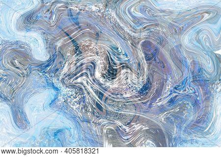 Ice Blue Fluid Illustration. Digital Marbling Card. Abstract Pastel Fluid Art Background. Marble Tex