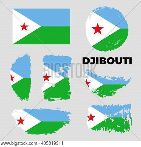 Set Of Djibouti Flag On Isolated Background Vector