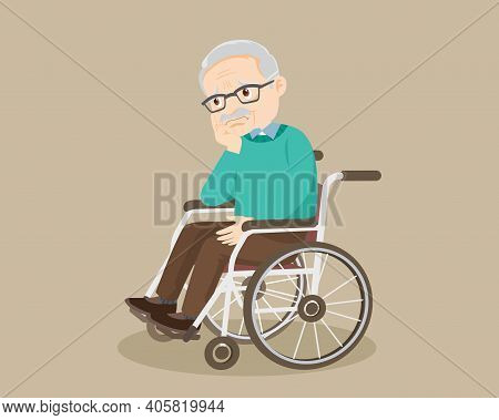 Sad Elderly Man Bored, Sad Senior Man Sitting In A Wheelchair. Alone Old Man Thinking About Problem.