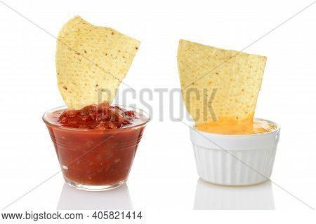 Nacho Chips Dipped In Salsa And Cheese On White Background