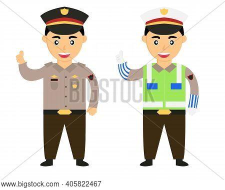 Llustration Vector Design Of Indonesian Police. Indonesian Cop