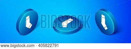 Isometric Inhaler Icon Isolated On Blue Background. Breather For Cough Relief, Inhalation, Allergic
