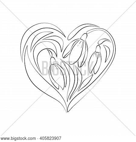 Black And White Contour Bouquet Of Flowers In The Shape Of A Heart, Snowdrops, Isolated On A White B