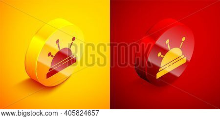 Isometric Needle Bed And Needles Icon Isolated On Orange And Red Background. Handmade And Sewing The