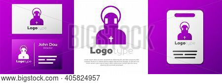 Logotype Monk Icon Isolated On White Background. Logo Design Template Element. Vector