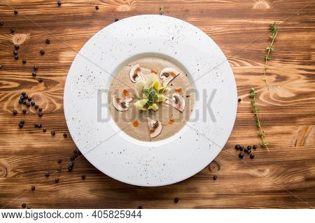 Cold Mushroom Soup-puree With Champignons. Hot Mushroom Puree Soup. Mushroom Soup With Vegetables. C