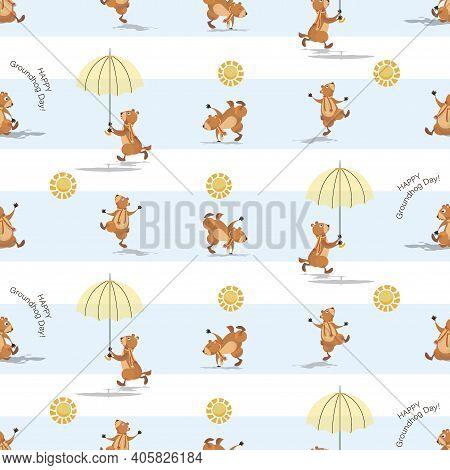 Groundhog Background. Marmot, Sun And Shadow. Groundhog Holding An Umbrella. Seamless Pattern