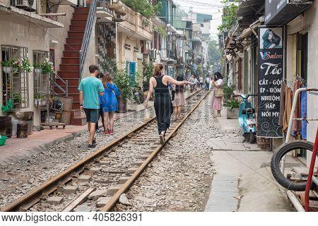 Hanoi, Vietnam : 26/03/2019 : Tourist Visit Hanoi Train Street A Funky Little Area And Popular Torui
