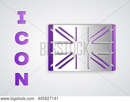 Paper Cut Flag Of Great Britain Icon Isolated On Grey Background. Uk Flag Sign. Official United King