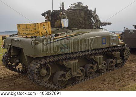 Ginkelse Heide, The Netherlands Sep 20, 2014 Market Garden Memorial. M4 Sherman Tank