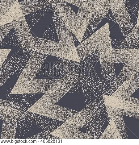 Stippled Texture Trendy Seamless Pattern Vector Retro Abstract Background. Handmade Tileable Geometr
