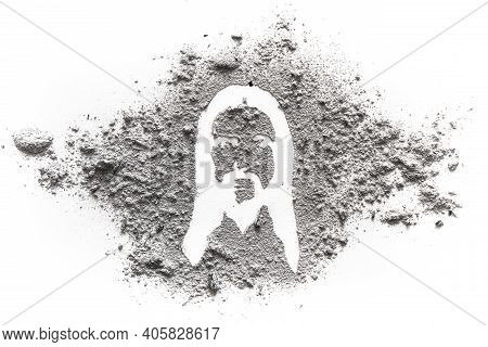 Face And Head Silhouette Drawing Of Jesus Christ Made In Ash Or Dust As Ash Wednesday, Lent Or Easte