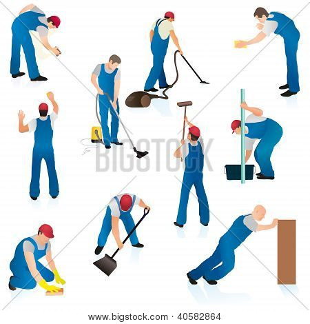 Set Of Ten Professional Cleaners.eps