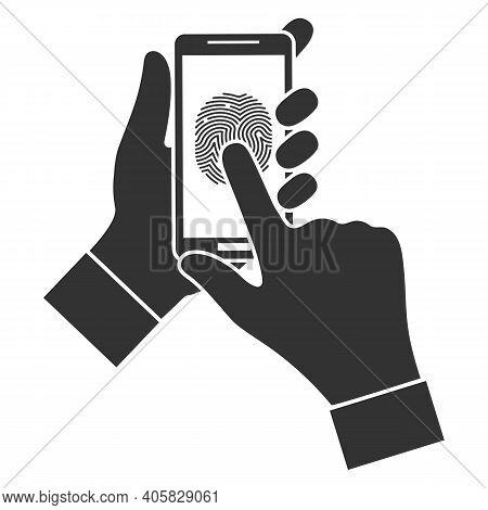 Illustration Of A Mobile Phone Screen. Fingerprint Biometrics.touch Fingerprint Id Secure Identifica