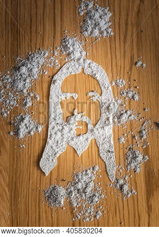 Jesus Face Drawing With Ash Or Dust On Wooden Background As Christian Religin Son Of God, Lent, East