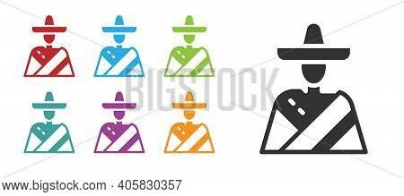 Black Mexican Man Wearing Sombrero Icon Isolated On White Background. Hispanic Man With A Mustache.