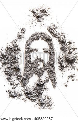 Jesus Head Face Portret Drawing Made In Ash Or Dust As Christian Savior, Redeemer Figure, Ash Wednes