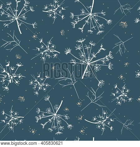 Abstract Seamless Pattern With White Delicate Dill On A Dark Background. Vector Drawing Of A Sprig O