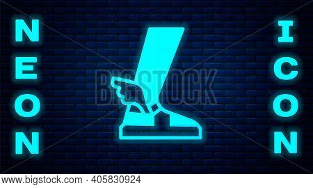 Glowing Neon Hermes Sandal Icon Isolated On Brick Wall Background. Ancient Greek God Hermes. Running