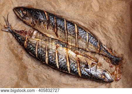Mackerel Fish Baked. Barbeque Grill Food Top View. Roasted Hot Prepared Scomber, Delicious And Tasty