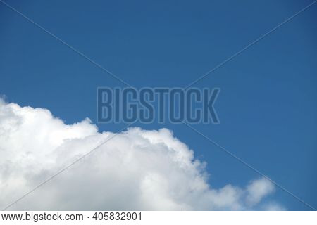 Beautiful Sky Landscape As Background With White Clouds On The Bottom Of Photo And Free Space For Te