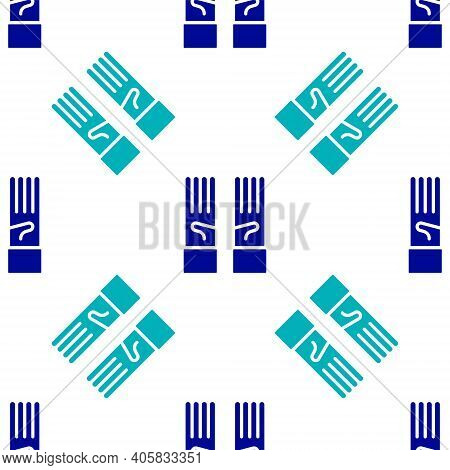 Blue Medical Rubber Gloves Icon Isolated Seamless Pattern On White Background. Protective Rubber Glo