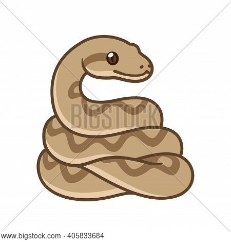 Cute Cartoon Snake Drawing. Brown Ball Python Or Boa Constrictor. Isolated Vector Clip Art Illustrat