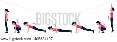 Woman Doing Burpee Workout With Pushup, Step By Step Exercise Instruction. Cartoon Vector Illustrati