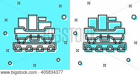 Black Line Cargo Train Wagon Icon Isolated On Green And White Background. Full Freight Car. Railroad