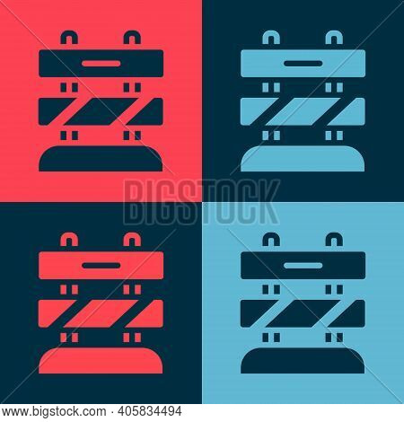 Pop Art End Of Railway Tracks Icon Isolated On Color Background. Stop Sign. Railroad Buffer End To D