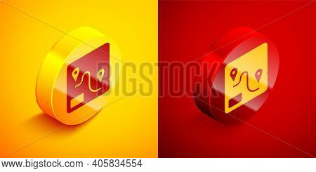 Isometric Route Location Icon Isolated On Orange And Red Background. Train Line Path Of Train Road R