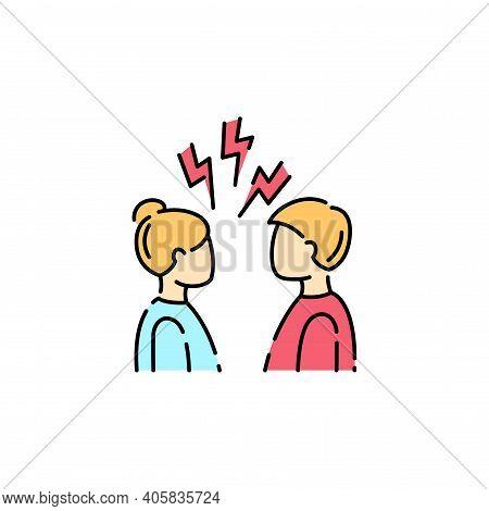 Conflict Color Line Icon. Disagreement, Relationship Troubles Concept.