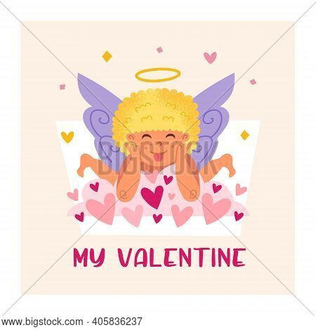 Funny Cupid With Halo. Angel, Child. Baby Boy. St Valentine's Day Greeting Card Design. Flat Vector